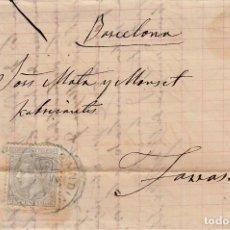 Sellos: CARTA COMPLETA CON NUM. 204 DE GANDIA CON MATASELLOS DE TREBOL AZUL 1881. Lote 171800533