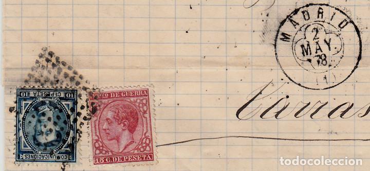 CARTA COMPLETA CON NUMS 175 Y 188 DE FRCO.OLLER EN MADRID -1878 CON MATASELLOS DE TREBOL Y ROMBO (Sellos - España - Alfonso XII de 1.875 a 1.885 - Cartas)