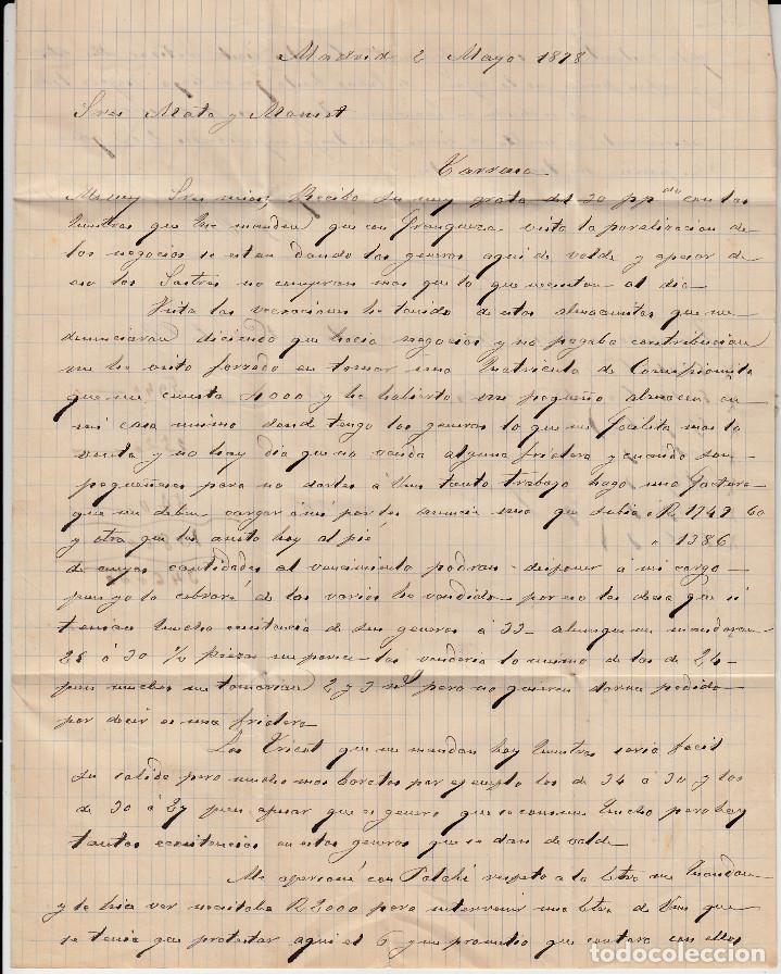 Sellos: CARTA COMPLETA CON NUMS 175 Y 188 DE FRCO.OLLER EN MADRID -1878 CON MATASELLOS DE TREBOL Y ROMBO - Foto 3 - 171800803
