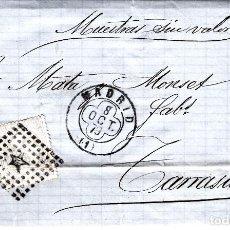 Timbres: CARTA COMPLETA CON SELLO NUM 204 DE DACHS Y CIA EN MADRID -1877 MATASELLOS DE ROMBO Y TREBOL. Lote 171801017