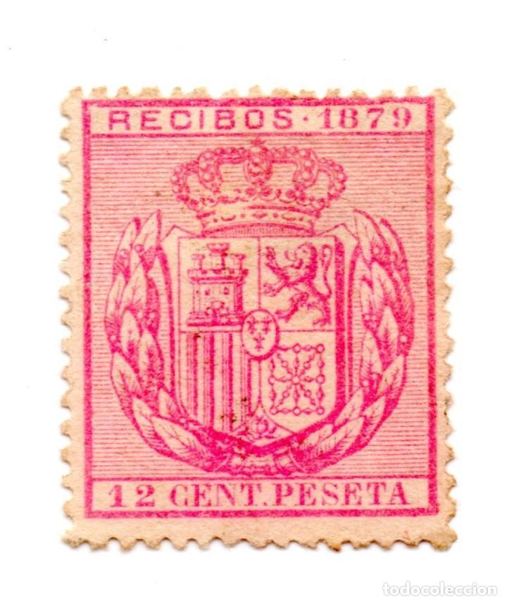 SELLO RECIBOS 12 CENTIMOS DE PESETA 1879 ALFONSO XII (SEÑAL CHARNELA) NUEVO (Sellos - España - Alfonso XII de 1.875 a 1.885 - Nuevos)