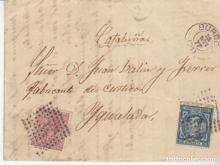 SELLOS 175 Y 188. ALFONSO XII. BURGOS A YGUALADA.1877. (Sellos - España - Alfonso XII de 1.875 a 1.885 - Cartas)