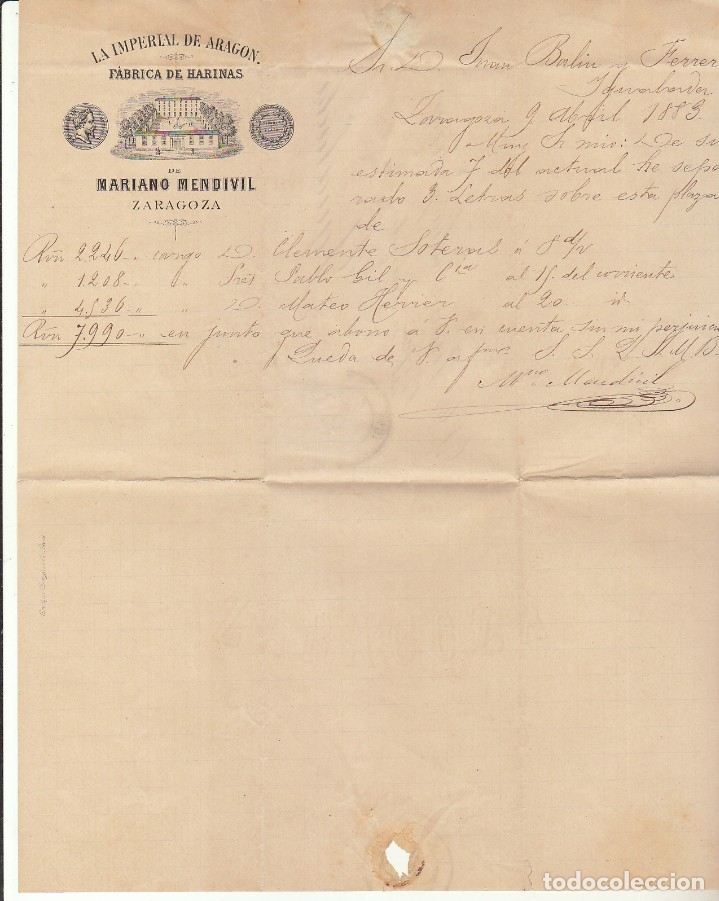Sellos: Sello 210 : ALFONSO XII. ZARAGOZA a IGUALADA. 1883. - Foto 2 - 172411043