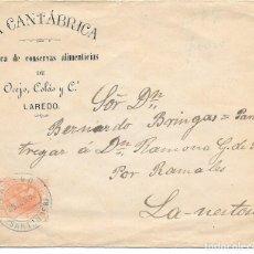 Sellos: SANTANDER. LAREDO SOBRE PUBLICITARIO. EDIFIL 210. CIRCULADO DE LAREDO A LANESTOSA. 1887. Lote 172641209