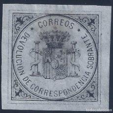 Sellos: EDIFIL 172 ESCUDO DE ESPAÑA 1875. SELLO DE DEVOLUCIÓN DE CORRESPONDENCIA SOBRANTE. LUJO. 130 €. MH *. Lote 172647747