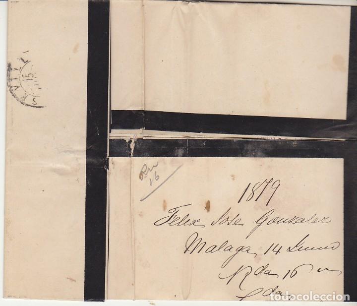 Sellos: LUTO: Sello 204. ALFONSO XII. MALAGA a SEVILLA . 1879. - Foto 3 - 172779054