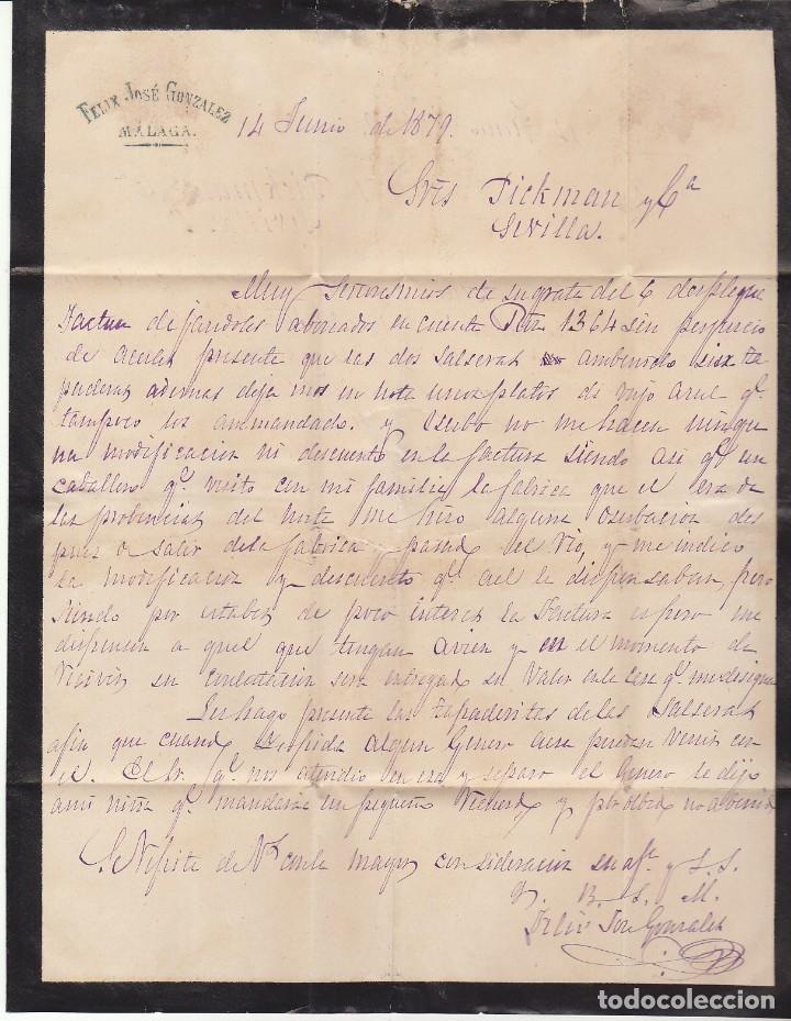 Sellos: LUTO: Sello 204. ALFONSO XII. MALAGA a SEVILLA . 1879. - Foto 4 - 172779054