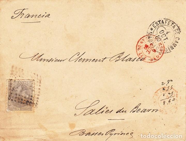 SOBRE CON SELLO DE COMUNICACIONES 25 CTMS. MATASELLOS DE ROMBO -1880- ESTAFETA DE CAMBIO MADRID (Sellos - España - Alfonso XII de 1.875 a 1.885 - Cartas)