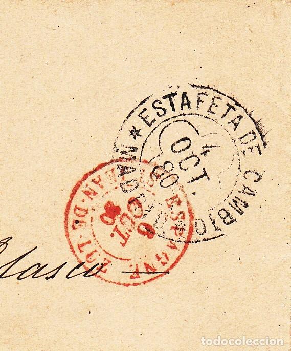Sellos: SOBRE CON SELLO DE COMUNICACIONES 25 CTMS. MATASELLOS DE ROMBO -1880- ESTAFETA DE CAMBIO MADRID - Foto 2 - 172834892