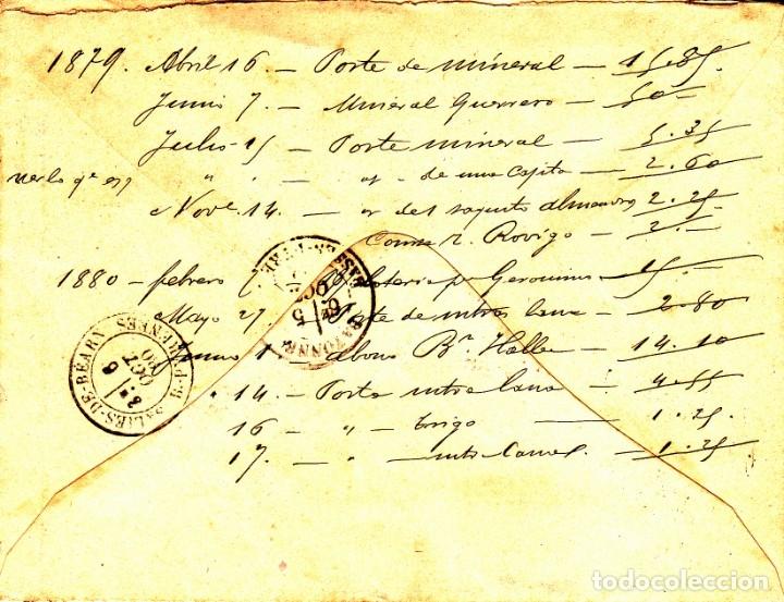 Sellos: SOBRE CON SELLO DE COMUNICACIONES 25 CTMS. MATASELLOS DE ROMBO -1880- ESTAFETA DE CAMBIO MADRID - Foto 3 - 172834892
