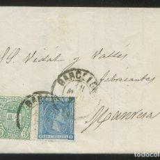 Sellos: CARTA COMPLETA CIRCULADA DE BARCELONA A MANRESA. FECHADOR 18 MAR 1876. EDIFIL Nº 154 Y 164.. Lote 10718825