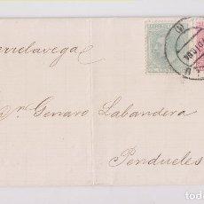 Timbres: CARTA ENTERQA. MADRID A PENTUELES, ASTURIAS. POR TORRELAVEGA. 1884. Lote 174443650