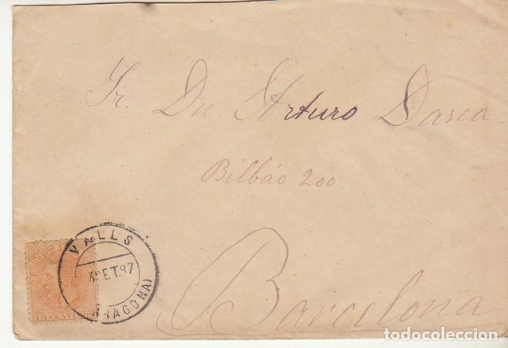 SOBRE: SELLO 122. VALLS A BARCELONA. 1887, (Sellos - España - Alfonso XII de 1.875 a 1.885 - Cartas)
