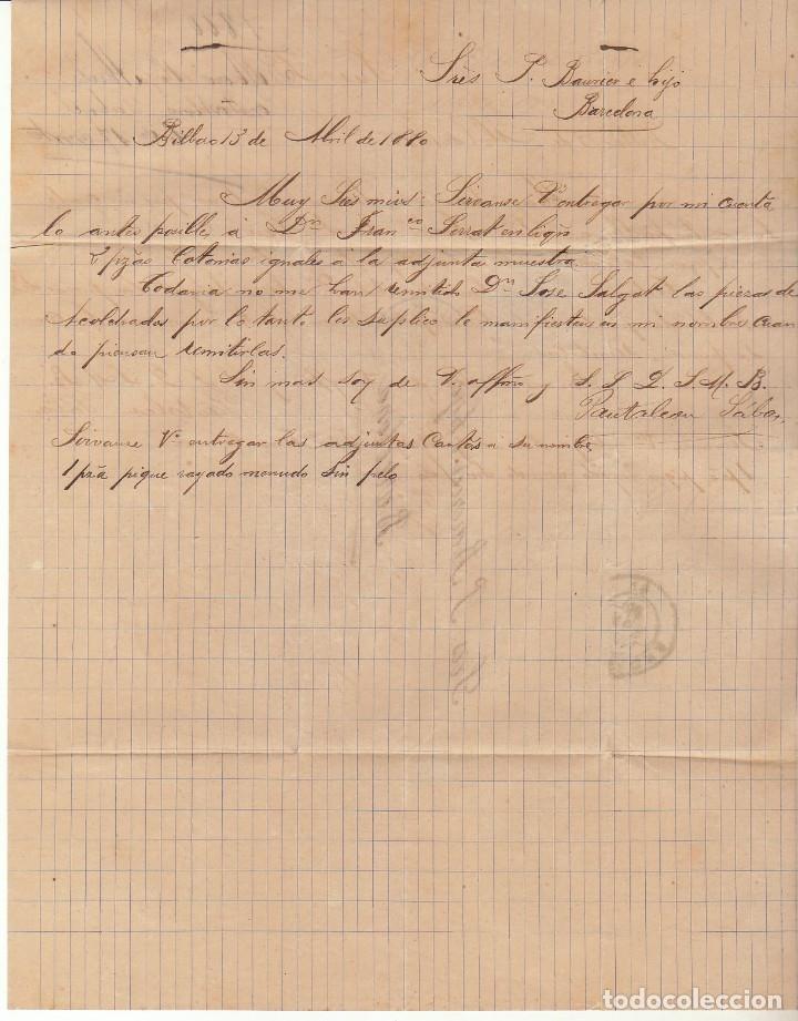Sellos: Sello 204. BILBAO a BARCELONA. 1880. - Foto 3 - 175344730