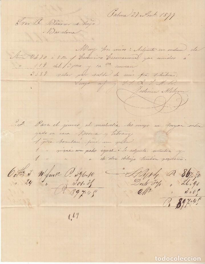 Sellos: Sellos 175 y 188. PALMA a BARCELONA. 1877. - Foto 3 - 175502315