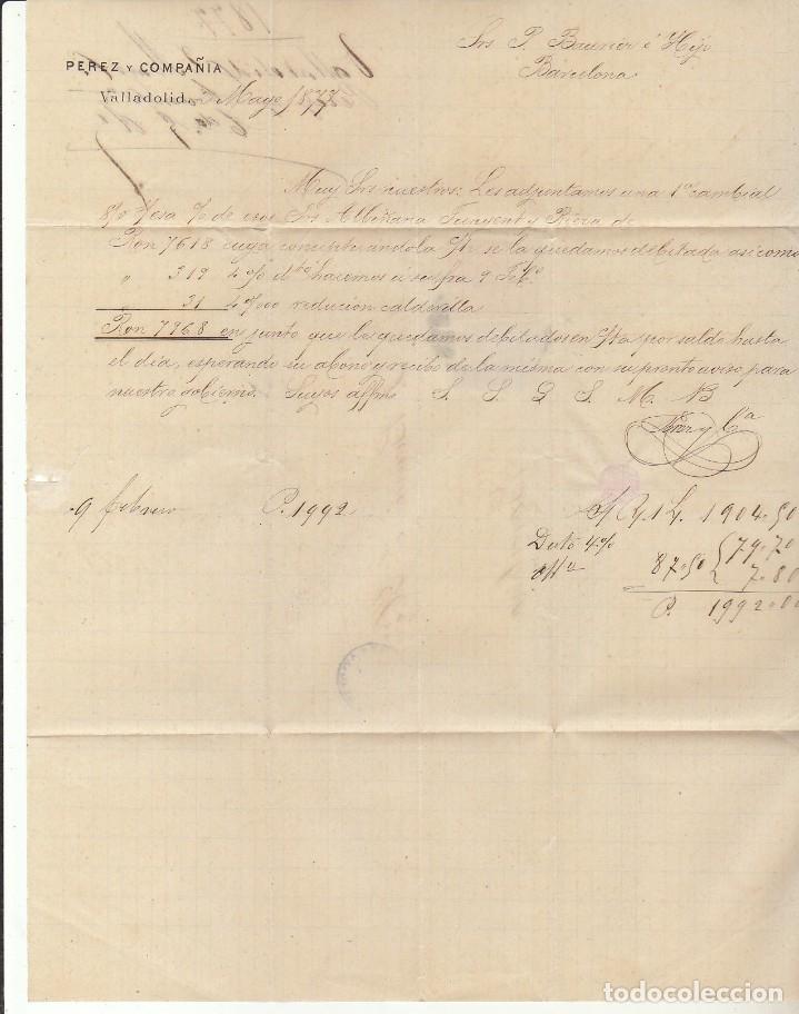Sellos: Sellos 175 y 183. VALLADOLID a BARCELONA.1877. - Foto 3 - 175502657