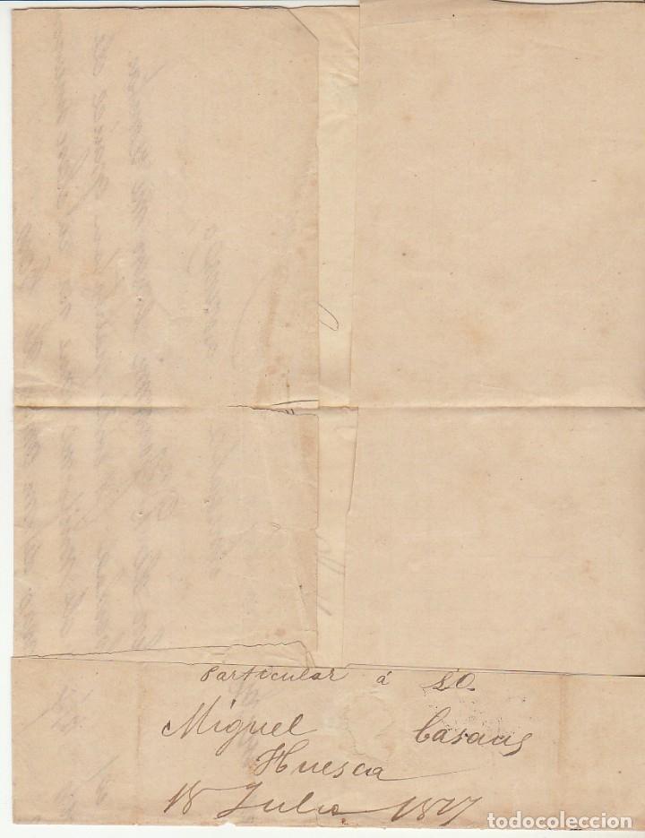 Sellos: Sellos 175 y 183. HUESCA a ZARAGOZA. 1877. - Foto 2 - 175503020