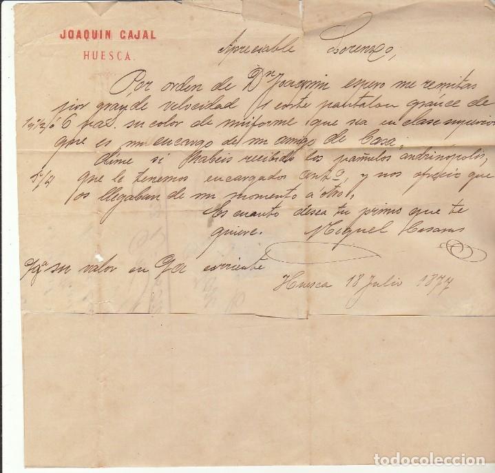 Sellos: Sellos 175 y 183. HUESCA a ZARAGOZA. 1877. - Foto 3 - 175503020