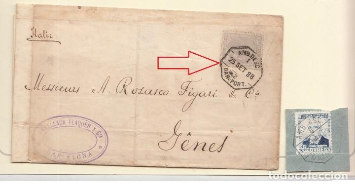 MATASELLO AMBULANTE FERROCARRIL BARNA. PORTBOU 1888-SELLO ALFONSO XII - TARIFA ESTRANGERO - LUJO (Sellos - España - Alfonso XII de 1.875 a 1.885 - Cartas)