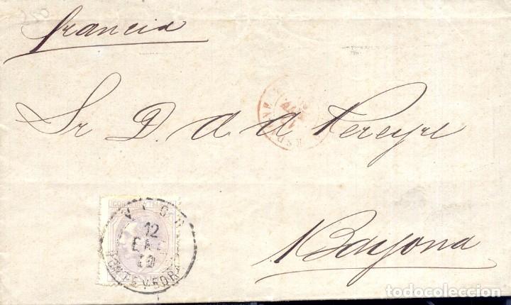AÑO 1879 EDIFIL 204 ALFONSO XII ENVUELTA A FRANCIA MATASELLOS VIGO PONTEVEDRA , ESPAGNE, BAYONNE (Sellos - España - Alfonso XII de 1.875 a 1.885 - Cartas)