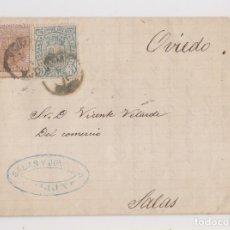 Sellos: CARTA ENTERA. GIJÓN A SALAS, ASTURIAS. SALTO DE PEINE. 1875. RARA. Lote 178736812