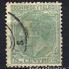 Sellos: ESPAÑA - 1879 - ALFONSO XII - 5 C. DE PESETA. - EDIFIL 201 - USADO. Lote 179346985