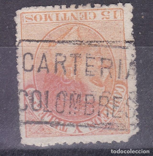 CC7-ALFONSO XII . MATASELLOS CARTERÍA COLOMBRES OVIEDO (Sellos - España - Alfonso XII de 1.875 a 1.885 - Usados)