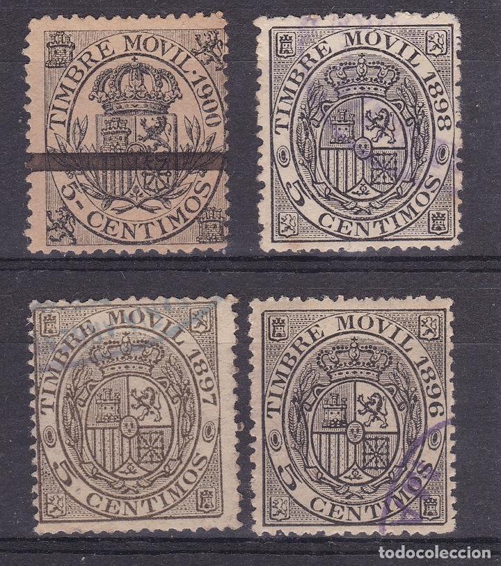 CC13- FISCALES MÓVILES 5 CTS X 4 AÑOS DIFERENTES (Sellos - España - Alfonso XII de 1.875 a 1.885 - Usados)
