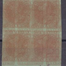 Francobolli: NN8- ALFONSO XII EDIFIL 210. DOBLE IMPRESIÓN. BLOQUE DE 4 PAPEL VERDE. MACULATURA. Lote 180203416