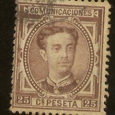 Sellos: ESPAÑA EDIFIL 177 (*) 25 CÉNTIMOS CASTAÑO CORONA Y ALFONSO XII 1876 NL1412. Lote 180259377