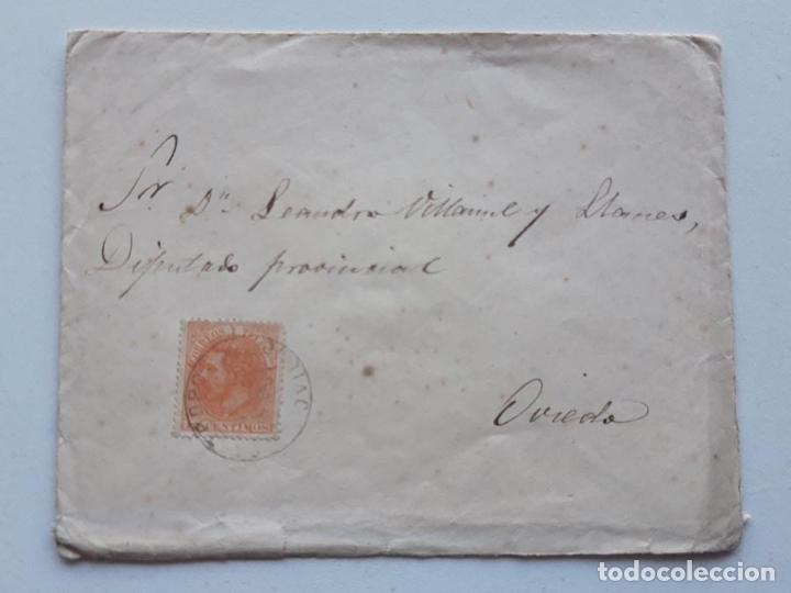 EDIFIL 210 EN SOBRE CASTROPOL OVIEDO (Sellos - España - Alfonso XII de 1.875 a 1.885 - Cartas)