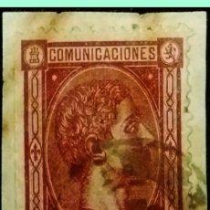 Sellos: M. BONITO SELLO SOBRE FRAGMENTO DEL 40 CTS. 1875 DE ALFONSO XII CON FECH.NEGRO DE ASTORGA-LEON. RARO. Lote 180505795