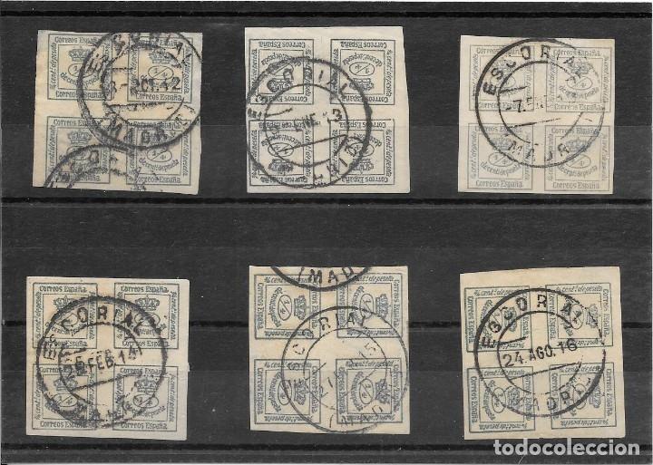 EL ESCORIAL. EDIFIL Nº 173. SEIS BLOQUES DE CUATRO USADOS 1912-1915 (Sellos - España - Alfonso XII de 1.875 a 1.885 - Cartas)