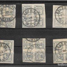 Sellos: EL ESCORIAL. EDIFIL Nº 173. SEIS BLOQUES DE CUATRO USADOS 1912-1915. Lote 181075020