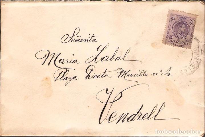 CARTA CON FRANQUEO DE SELLO ALFONSO XIII DESTINO VENDRELL ( CARTA DE AMOR ) (Sellos - España - Alfonso XII de 1.875 a 1.885 - Cartas)
