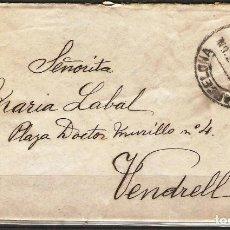 Sellos: CARTA CON FRANQUEO DE SELLO ALFONSO XIII DESTINO VENDRELL ( CARTA DE AMOR ). Lote 181346270