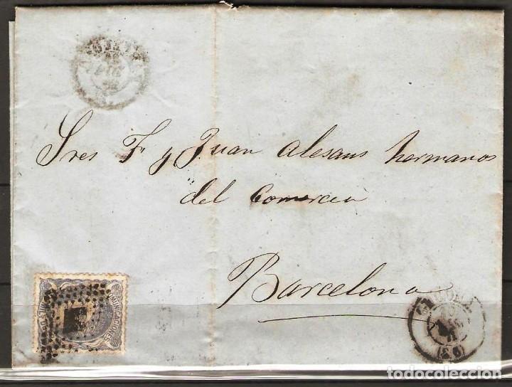 CARTA CON FRANQUEO DE SELLO EDIFIL 107 50M ULTRAMAR DE GIRONA A BARCELONA (Sellos - España - Alfonso XII de 1.875 a 1.885 - Cartas)
