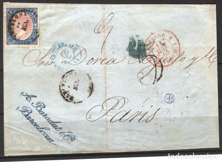 FRONTAL CON FRANQUEO DE SELLO EDIFIL 70 12CU AZUL Y ROSA DE BARCELONA A PARIS (Sellos - España - Alfonso XII de 1.875 a 1.885 - Cartas)