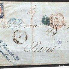 Sellos: FRONTAL CON FRANQUEO DE SELLO EDIFIL 70 12CU AZUL Y ROSA DE BARCELONA A PARIS. Lote 181347540