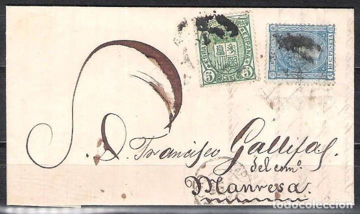 CARTA CON FRANQUEO DE SELLO EDIFIL 154 5C. VERDE Y 164 10C. AZUL DESTINO MANRESA (Sellos - España - Alfonso XII de 1.875 a 1.885 - Cartas)