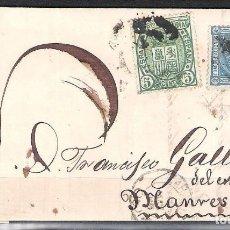 Sellos: CARTA CON FRANQUEO DE SELLO EDIFIL 154 5C. VERDE Y 164 10C. AZUL DESTINO MANRESA. Lote 181347998