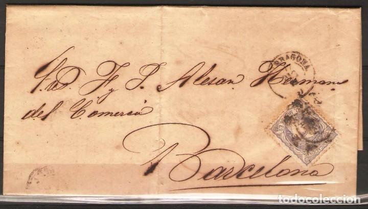 CARTA CON FRANQUEO DE SELLO EDIFIL 107 50M ULTRAMAR DE TARRAGONA A BARCELONA (Sellos - España - Alfonso XII de 1.875 a 1.885 - Cartas)