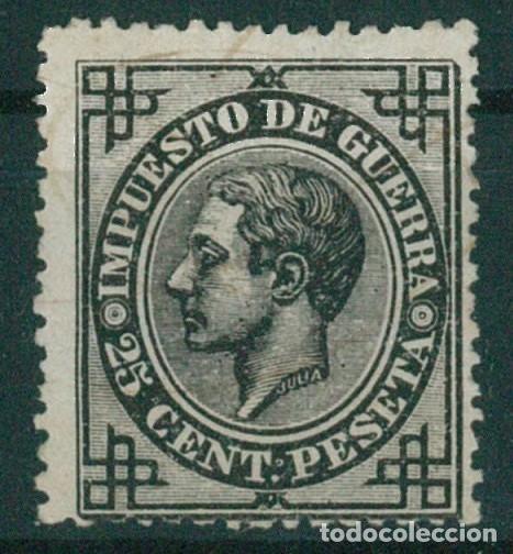 Sellos: EDIFIL 183/187.ALFONSO XII IMPUESTO GUERRA.INCLUYE 5c.FALSO POSTAL GRAUSS Y 5c.ERROR DE COLOR. - Foto 11 - 181944100