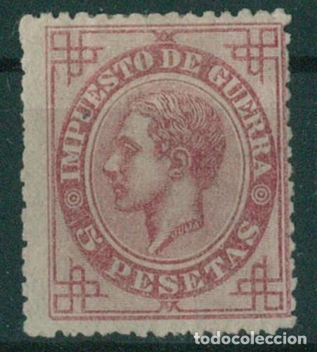 Sellos: EDIFIL 183/187.ALFONSO XII IMPUESTO GUERRA.INCLUYE 5c.FALSO POSTAL GRAUSS Y 5c.ERROR DE COLOR. - Foto 15 - 181944100