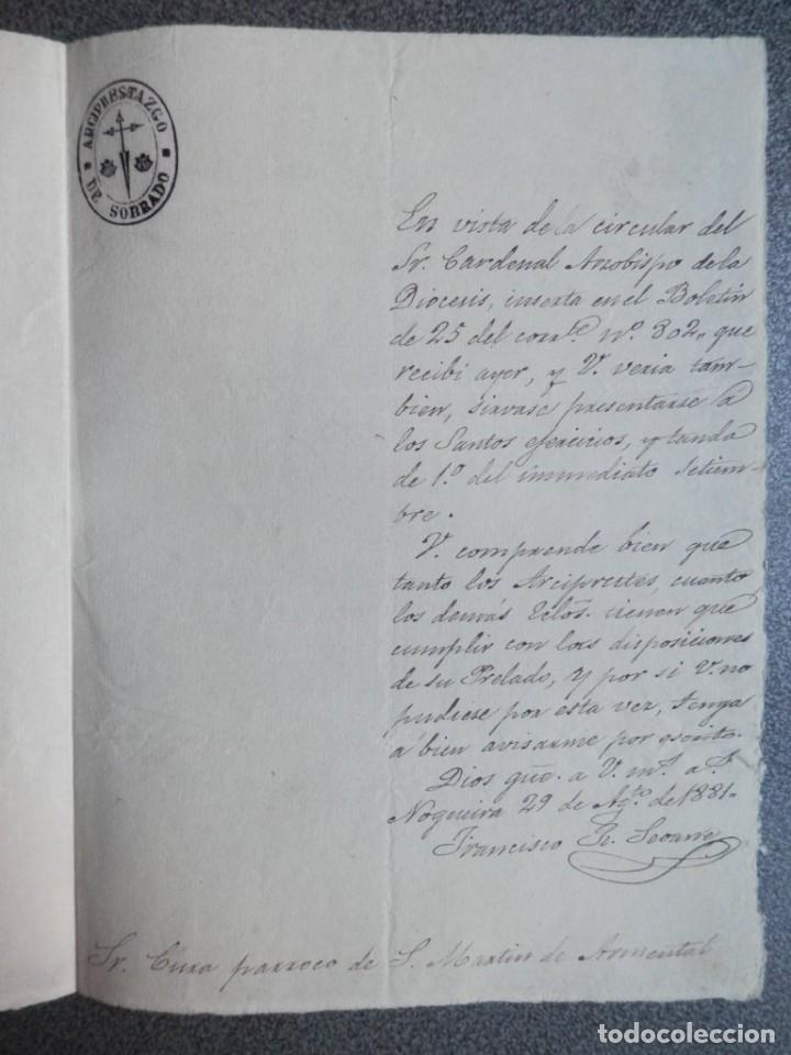 Sellos: CARTA COMPLETA AÑO 1881 FRANQUICIA ARCIPRESTAZGO DE SOBRON - ÁLAVA BONITA - Foto 2 - 182548860
