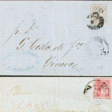 Sellos: ESPAÑA. ALFONSO XII. SOBRE 166, 168. 1875. CONJUNTO DE DOS CARTAS FRANQUEDAS CON EL 25 CTS ROSA Y E. Lote 183131136
