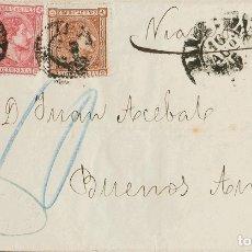 Sellos: ESPAÑA. ALFONSO XII. SOBRE 166(2), 167(2). 1875. 25 CTS ROSA, DOS SELLOS Y 40 CTS CASTAÑO, DOS SELL. Lote 183136802