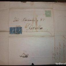 Sellos: 1876 CARTA MALAGA A SEVILLA FILATELIA SELLO - PICKMAN Y COMPAÑIA - ESTABLECIMIENTO DE LOZA Y CRISTAL. Lote 183798506