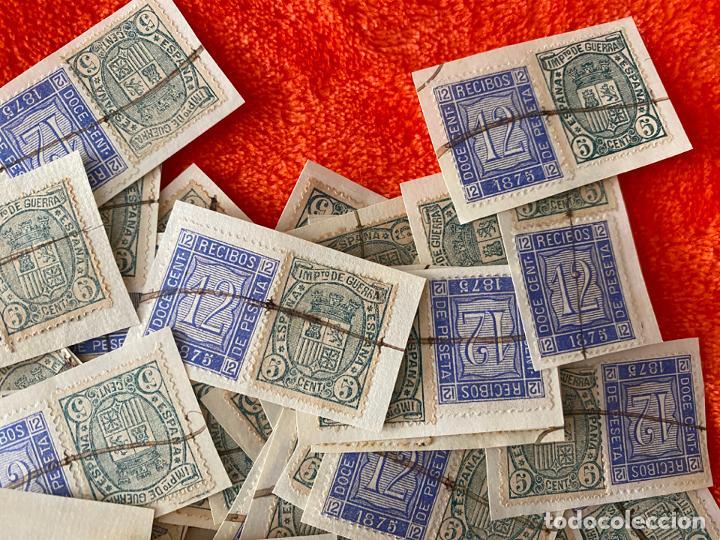 Sellos: IMPUESTO DE GUERRA 5 CENTIMOS Y 12 CENT. RECIBOS FISCAL DE 1875 , LOTE DE 160 SELLOS , USADOS - Foto 2 - 183838038