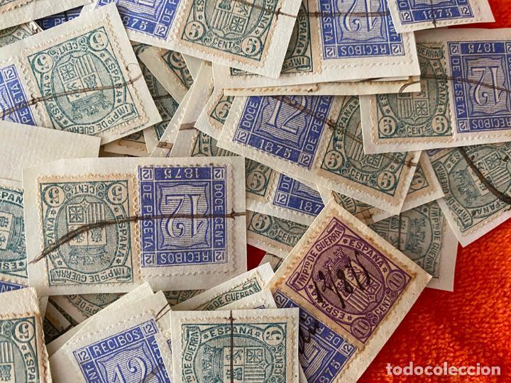 Sellos: IMPUESTO DE GUERRA 5 CENTIMOS Y 12 CENT. RECIBOS FISCAL DE 1875 , LOTE DE 160 SELLOS , USADOS - Foto 3 - 183838038